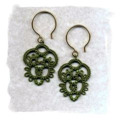 Tatted Dangles olive by ElizabethsLace on Etsy, $38.00