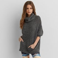 AEO Cable Knit Toggle Cardigan featuring polyvore, fashion, clothing, tops, cardigans, dark heather grey, chunky cable knit cardigan, open front cardigan, cable cardigan, toggle cardigan and american eagle outfitters