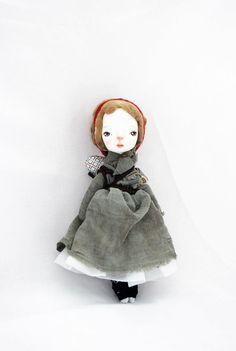 Dorothy Cloth and Clay Art Doll Handmade Paperclay via Etsy