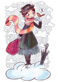 Mary Poppins by Florealpolla for @Sketch_Dailies                                                                                                                                                      Más