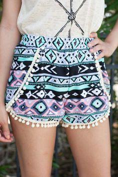Show Me the Way Aztec Pom Pom Shorts