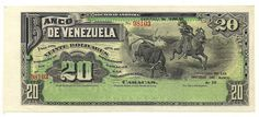 BANCO DE VENEZUELA - VEINTE BOLIVARES bill