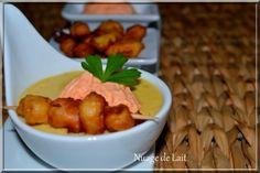 velouté de maïs aux épices cajun faux pop corn et crème de poivron