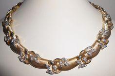 "Trifari Rhinestone Necklace ""Garden Of Eden"" Smoke Rhinestones 1957 Vintage  #Trifari #Choker"