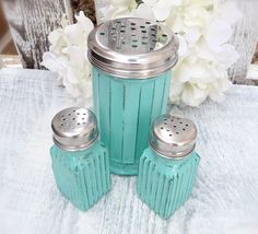Vintage Shabby Chic Glass Salt and Pepper Shakers with Bonus Large Shaker.