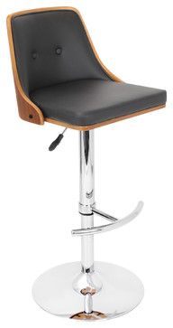 Nueva Barstool Walnut + Black - contemporary - chairs - Contemporary Furniture Warehouse