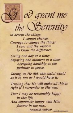 Serenity Prayer by Gus Niebuhr.