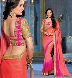 Smashing Salmon and Magenta Saree - Buy online @ http://www.yourdesignerwear.com/smashing-salmon-and-magenta-saree-p-52289.html