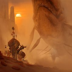Encounter In The Deep Desert, Artur Sadlos on ArtStation at https://www.artstation.com/artwork/B8DVl
