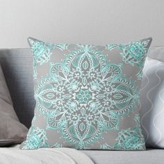 'Teal and Aqua Lace Mandala on Grey' Throw Pillow by micklyn Teal Bedroom, Teal Rooms, Shabby Chic Bedroom, Living Room Grey, Chic Bedroom, Pillows, Gray Bedroom, Grey Throw Pillows, Living Room Decor Gray