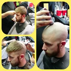 Bald Head Man, Bald Heads, Short Hair Cuts, Short Hair Styles, Bald Men Style, Before And After Haircut, Popular Mens Hairstyles, Shaved Head, Hair Transformation
