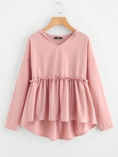Ladies Frilled Dip Hem Smock Hoodie Tee Shirt Autumn Pink Ruffle Top Women Long Sleeve Cute T Shirt Stylish Dresses For Girls, Stylish Dress Designs, Designs For Dresses, Stylish Outfits, Casual Dresses, Muslim Fashion, Fashion Wear, Girl Fashion, Fashion Tips