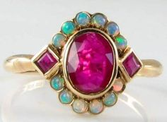 CLASSIC ENGLISH 9CT RICH RUBY & AUS OPAL CLUSTER RING