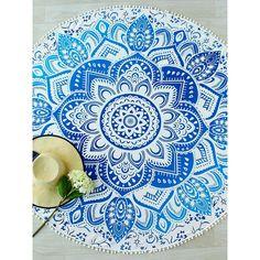 SheIn(sheinside) Lotus Print Pom Pom Trim Round Beach Blanket ($13) ❤ liked on Polyvore featuring blue