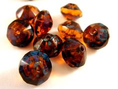 Dark Amber Picasso Czech Glass Faceted Transparent Rivoli Saucer Beads 11mm 8 pcs. G6062-DAP8 by Allearringsandsupplies, $2.95 USD