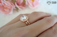 2.25 Carat Halo Wedding Set Vintage Bridal Rings by TigerGemstones