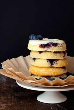 Blueberry Doughnuts with Lemon and Cream Cheese Glaze
