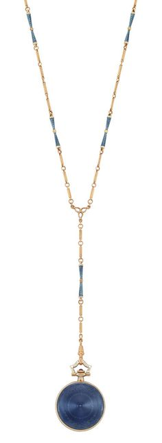 Edwardian Gold and Blue Guilloche Enamel and White Enamel Pendant-Watch Necklace, Black, Starr & Frost, circa 1915