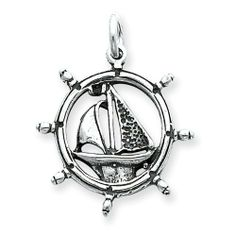 Sterling Silver Antiqued Sailboat in Wheel Charm goldia. $14.59