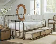 This versatile Tristen daybed is the perfect accent bed with smooth transitional styling, finished in an aged pewter. Design lines include smoothly rounded shou