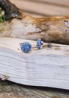 Light Blue Herringbone Harris Tweed Cufflinks  | The Tartan Blanket Co.