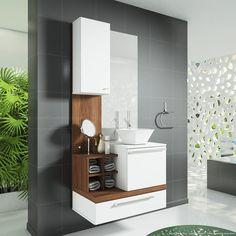 Banheiro Decorado com Armários e Prateleiras Branco/Nogal Sevilha - Combine +   Lojas KD