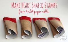 Make Heart Shaped Stamps from toilet paper rolls