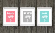 Dandelion nursery decor wishes do come true by customedgestudio