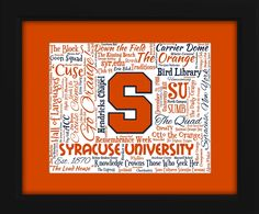Syracuse University Art Piece - Beautifully matted and framed behind glass - AO Designs College Presents, College Gifts, Marion Hall, Unique Art, Unique Gifts, Carnegie Library, Syracuse University, Word Design