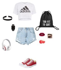 """Adidas"" by pzimina-ru on Polyvore featuring мода, Topshop, Nobody Denim, Converse, Beats by Dr. Dre, Express, Huda Beauty, Eos, polyvoreeditorial и polyvorefashion"