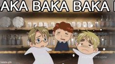 "Anime/manga: Hetalia, LOL I thought it first meant ""red idiot idiot"" but its really ""idiot ect."", translated to English."