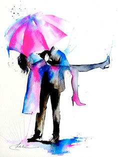 Paris Love Romance Travel Watercolor Painting Series by LanasArt