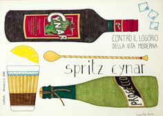 Handmade illustration of Spritz Cynar cocktail recipe by lucillavecc now available on Etsy  https://www.etsy.com/it/listing/494629974/spritz-cynar-illustrated-recipe