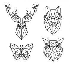 Coloriage pixel art dessin animaux à imprimer gratuit Geometric Drawing, Geometric Art, Geometric Animal, Geometric Designs, Geometric Patterns, Geometric Embroidery, Geometric Tattoos, Tattoo Drawings, Art Drawings