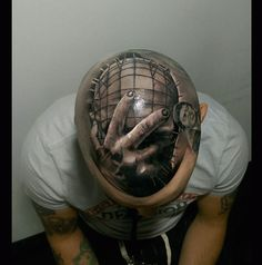 Check out these insane head tattoos here. Horror Movie Tattoos, Scary Tattoos, Head Tattoos, Cool Tattoos, Tatoos, 3d Face, Inked Magazine, Body Modifications, Body Mods