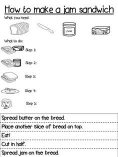 Procedure Writing Template : Differentiated : How to make a jam sandwich Use this as a scaffold for differentiated procedure writing.This three-tiered template caters for different levels of ability in the writing process. Sequencing Worksheets, Writing Worksheets, Writing Activities, Writing Resources, Writing Ideas, Teaching Resources, Procedural Writing, Informational Writing, Kindergarten Writing