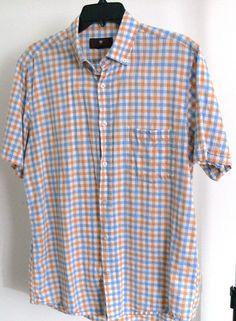 Toscano check linen Cotton Blend Shirt by Patrick Assaraf Short Sleeves Size M #Toscano #ButtonFront