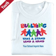 Bullying Take A Stand Lend A Hand (White) Youth T-Shirt With Personalization | Positive Promotions * SAVE 10% when you enter promo code RRW14 at checkout