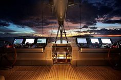 S/Y Vertigo - 220' megayacht by Alloy Yachts - helm at night