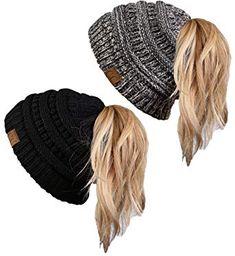 women 's hat winter Beanie Tail Bundle warm Grey/Black Solid Black Pack) Ponytail Beanie, Ear Warmer Headband, Dress Gloves, Ear Warmers, Bad Hair, Ladies Party, Up Hairstyles, Womens Scarves, Amazing Women