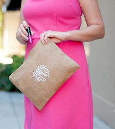 Monogram Burlap Makeup Bag Personalized Makeup Bags, Personalized Bridesmaid Gifts, Monogrammed Purses, Embroidered Gifts, Floppy Hats, Monogram Styles, Font Styles, Monogram Gifts, Cosmetic Bag