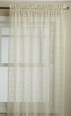 Lorraine Home Fashions Priscilla 60-inch x 63-inch Tailored Panel, Ivory by Lorraine Home Fashions. $14.75. Measures 60-Inch by 63-Inch. Fabric content: 100-percent polyester. Machine wash, warm water, gentle cycle; do not bleach; line dry; warm iron if necessary. Measures 60-inch x 63-inch. The classic delicate beauty of all-over floral scrolled bridal lace is beautifully finished with embellished scalloped bottoms in this tier, swag, valance, panel and ruffled priscilla progr...