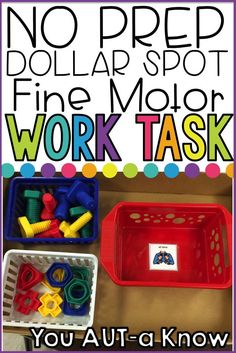 This is a great work task for students working on fine motor skills in the Special Education classroom.