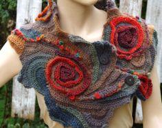 Crochet Scarf, Woman winter fashion, Gift, Crochet,scarf Schadows green, orange, brown, Woman's Shawl, Cape, Neck Warmer, Freeform crochet