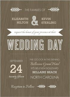 Brown Woodgrain Rustic Wedding Invitation