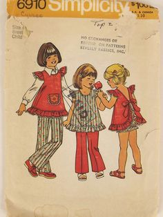 Vintage 70s Sewing Pattern  Girls Top by SuzisCornerBoutique, $10.00