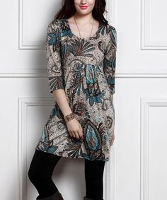 Look what I found on #zulily! Teal & Brown Floral Empire-Waist Tunic Dress #zulilyfinds