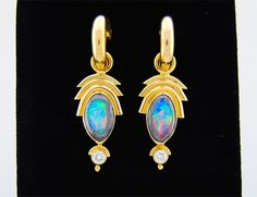 Yowah Opal 15 mm x 10 mm set in 18K Yellow Gold by sasajewelry, $28000.00