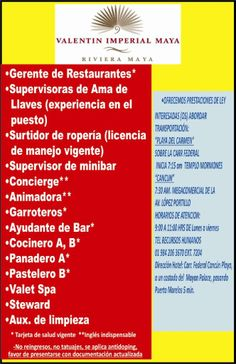 Vacantes Riviera Maya  Únete a la Gran Familia Valentín, aplica para las siguientes posiciones.