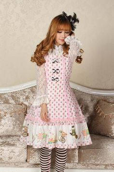 Sleeveless Knee-length Pink Lace Princess Dress Sweet Lolita Dress Customize $120.00 #Lovejoynet  #Lolita
